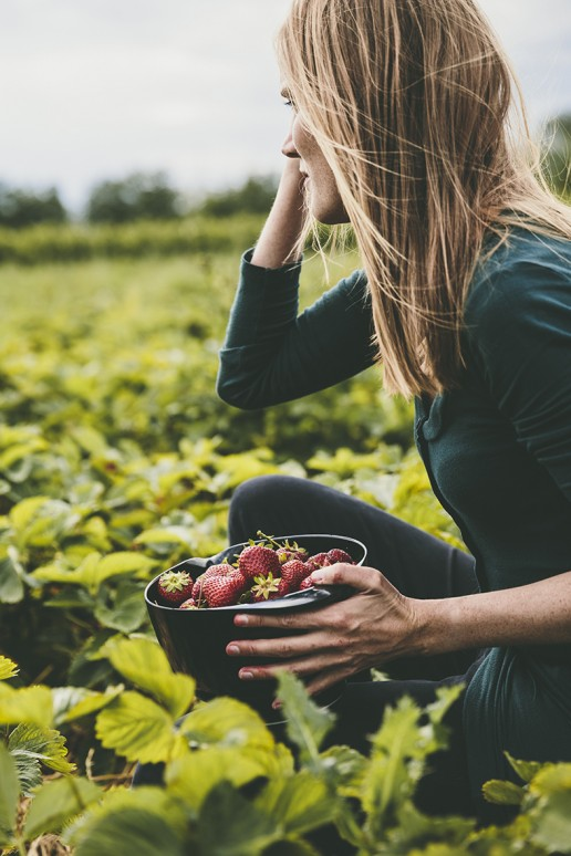 Woman picking strawberries in a field